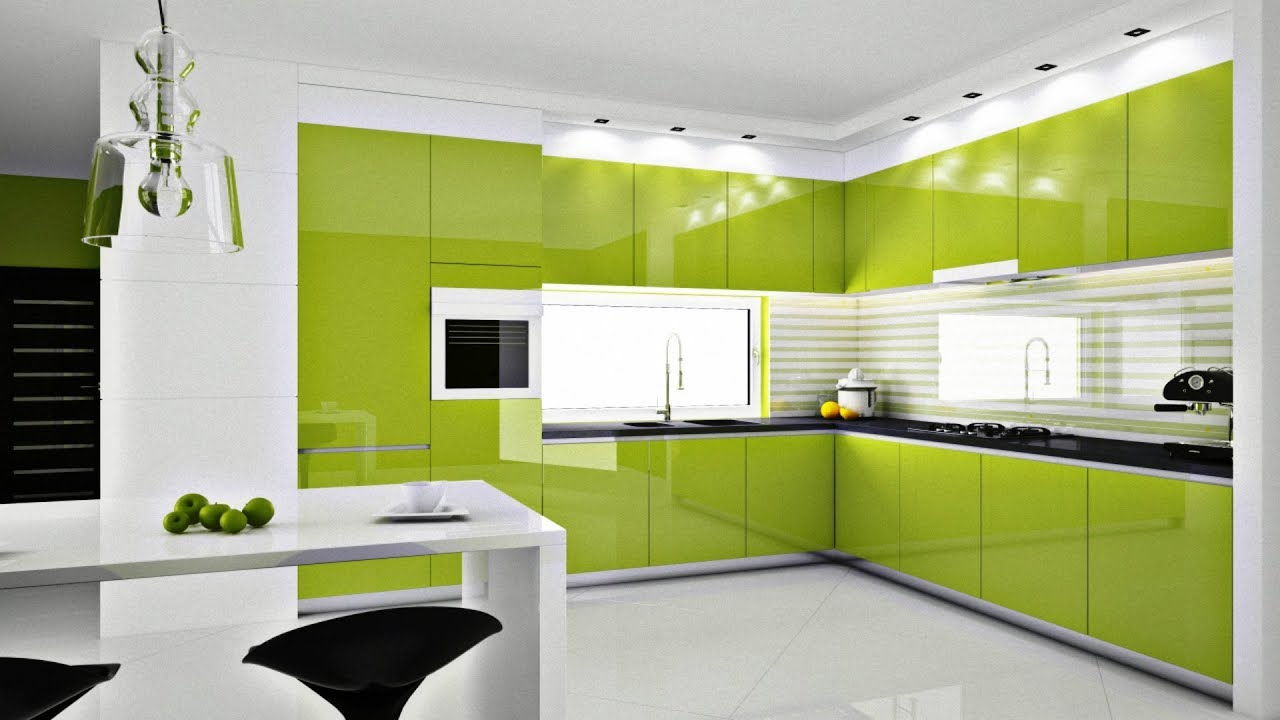 Foto Pembuatan kitchen set warna hijau